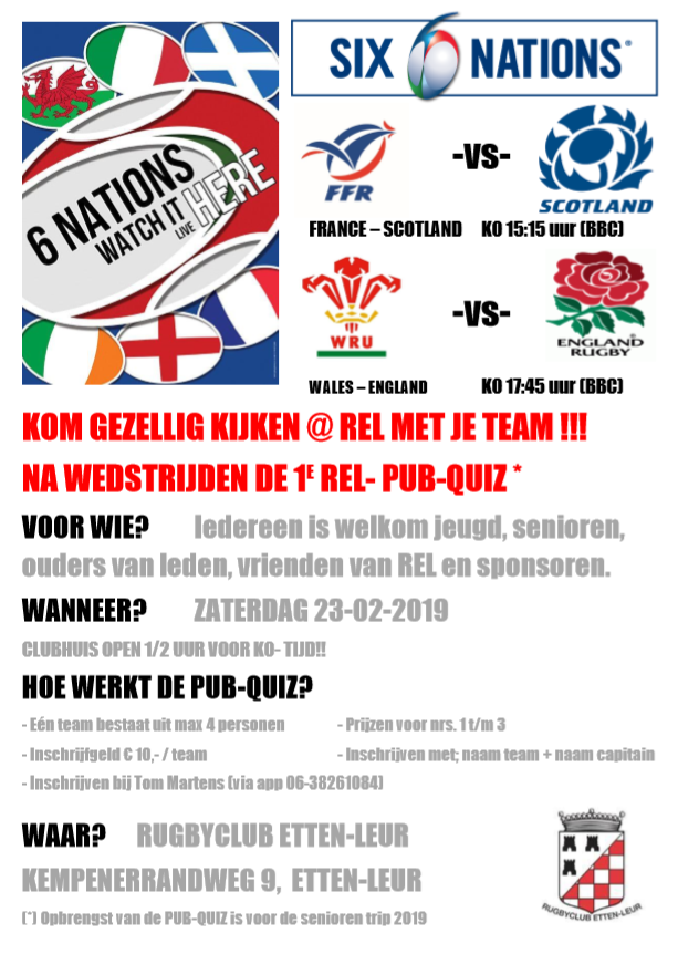 2019 Flyer 6Nations W3B Pub Quiz